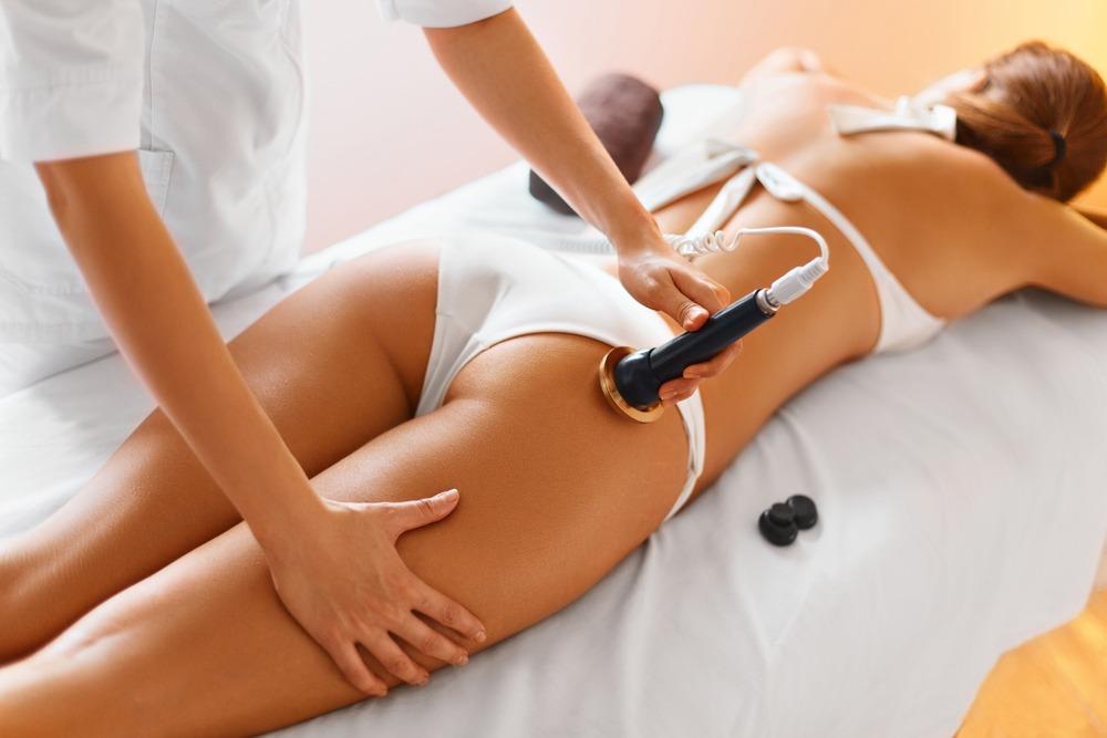 Body,Care.,Ultrasound,Cavitation,Body,Contouring,Treatment.,Woman,Getting,Anti-cellulite